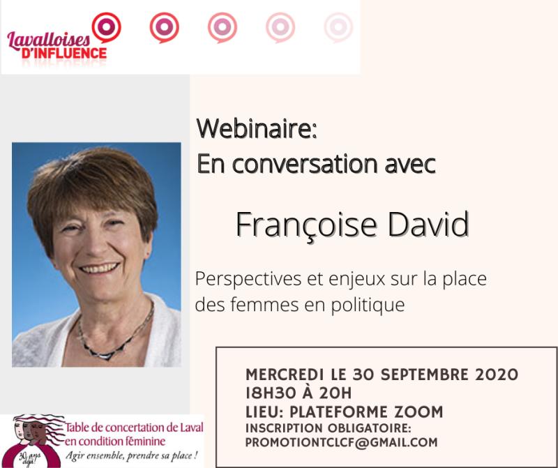 Bannière webinaire Françoise David